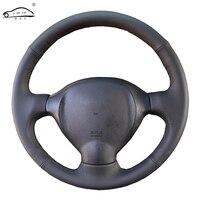Genuine Leather car steering wheel Cover for Hyundai Santa Fe 2001 2002 2003 2004-2006/dedicated Steering-Wheel Handlebar Braid