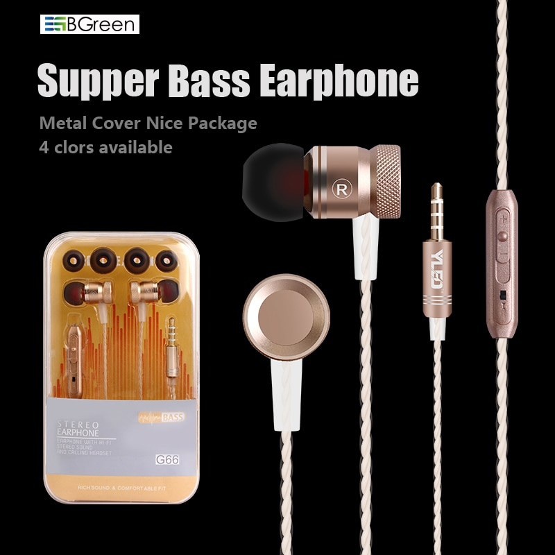 BGreen G66 cubierta metálica graves auriculares estéreo para teléfono móvil con micrófono para reproductor de MP3 Android iPhone 7 7S S8 Mate 9 NOTE 8