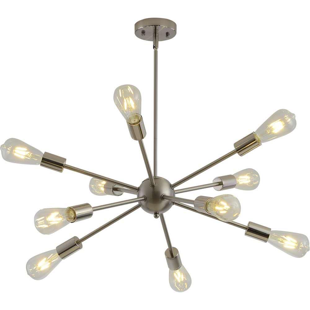 Sputnik Chandeliers Brass Modern Pendant Lamps Antique Gold Industrial Stair Lighting Fixtures 10 Arms Brushed Nickel Black Tube