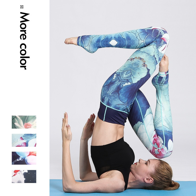 Chinese style Printing fashion Yoga Pants Sport Leggings Women Fitness Gym Tights Elastic High Waist Yoga Leggings Running 2020