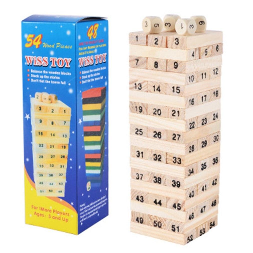 54 piezas de bloques de apilamiento de capa digital de madera original para niños para aprender a apilar pilas altas de pilas