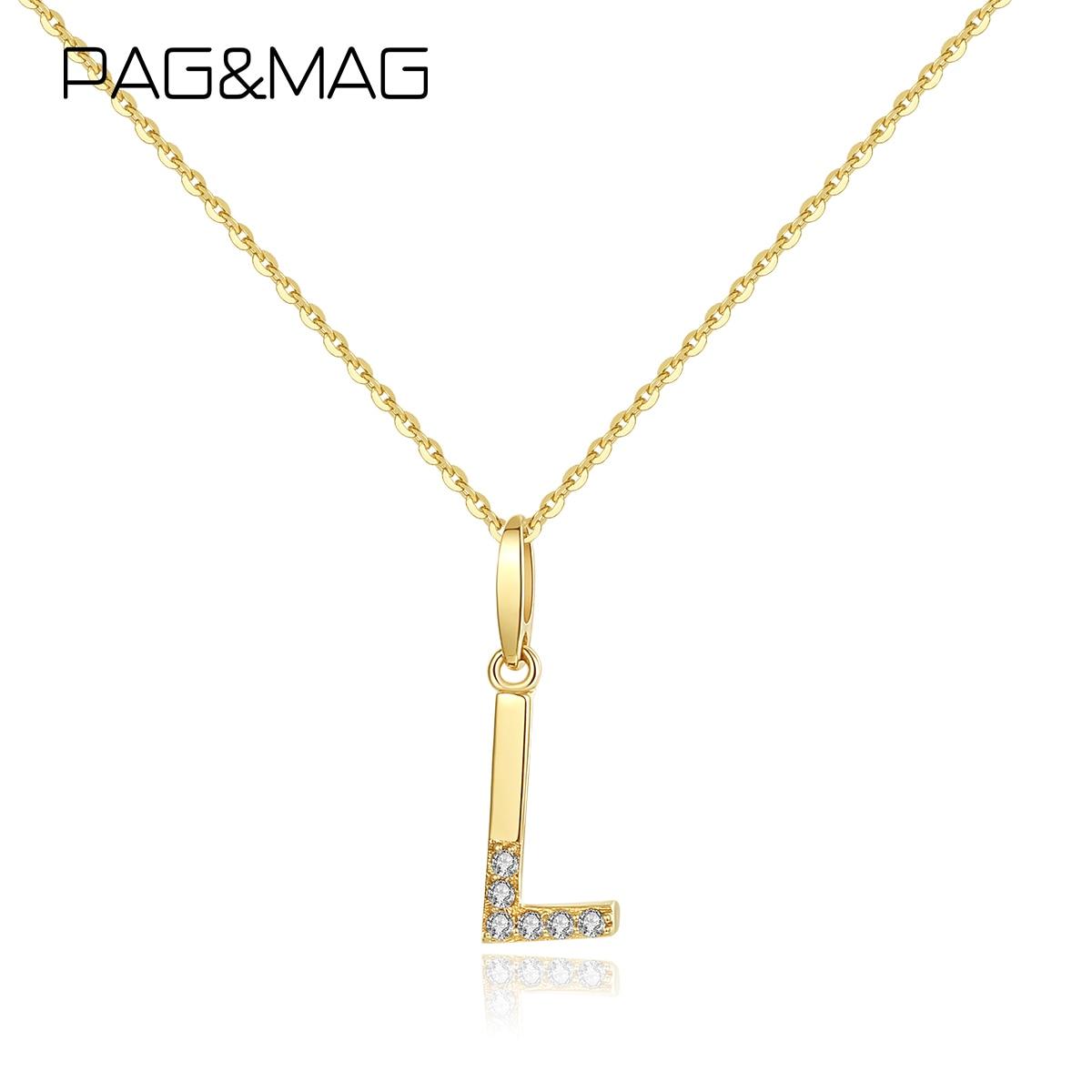 Pag & mag genuíno 14k ouro sólido letras iniciais pingente colar para mulher ouro amarelo 585 colar de jóias finas presente n14120