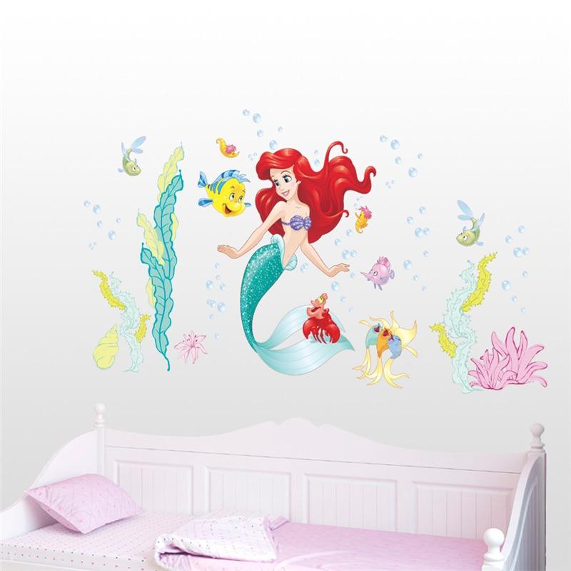 Dos desenhos animados Da Sereia Ariel Princesa Sealife Peixe Bolha Adesivos de Parede Para Quarto de Crianças Decoração Diy Anime Mural Art Home Decalques