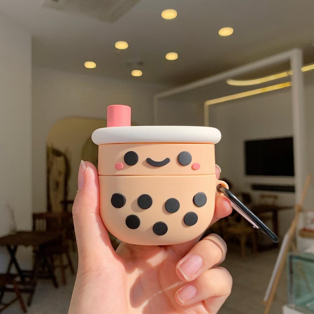 Para AirPods Pro funda de dibujos animados Cute Soft Milk Bubble Tea Drink Bottle funda protectora para Airpods Pro Air Pods 3 fundas con gancho