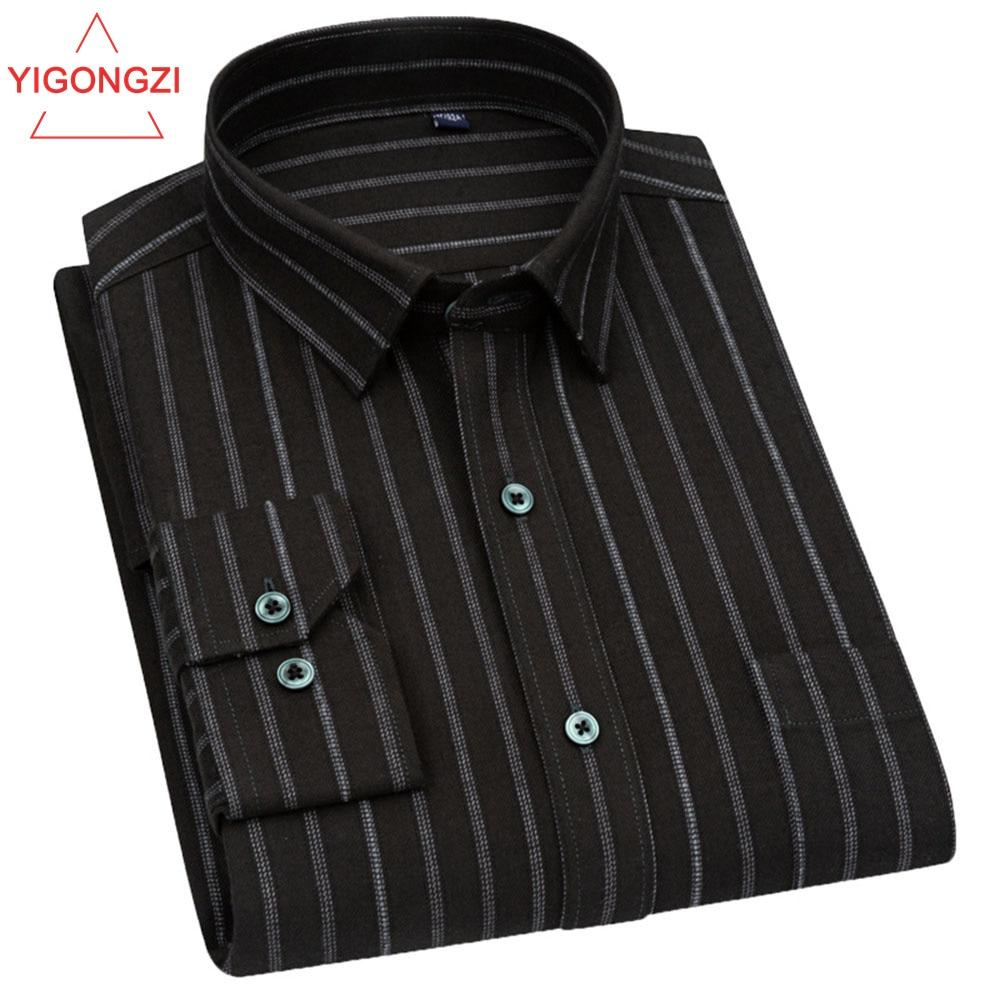 الخريف موضة عادية زر أسفل قميص الرجال طويلة الأكمام مخطط فستان قمصان تصميم العلامة التجارية الأعمال سليم صالح رجل بلوزة قطن