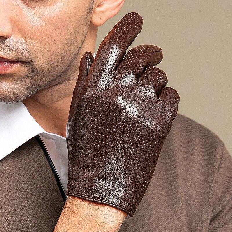 Перчатки мужские кожаные, Модные дышащие однослойные тонкие перчатки из овечьей шкуры, для вождения, езды на весну и осень