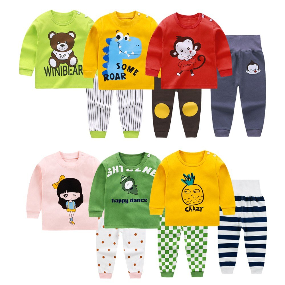 New Boys And Girls Autumn Suits, Children Cotton Long Johns Cartoon Long Sleeve Thermal Underwear Ki
