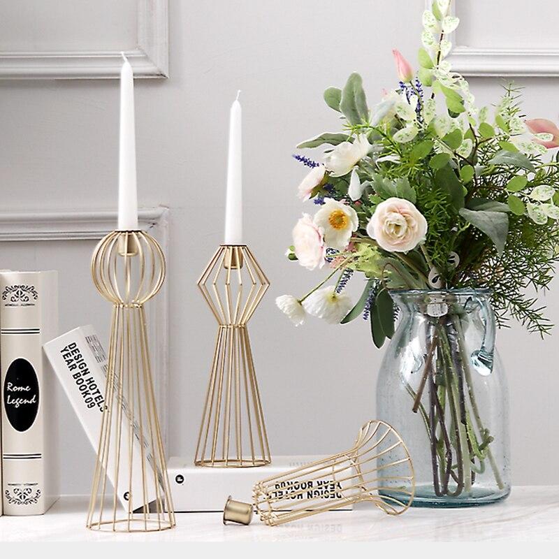 Candelero nórdico geométrico de hierro dorado con soporte para velas Decoración de mesa sencilla candelero moderno romántico centros de mesa para boda X6T