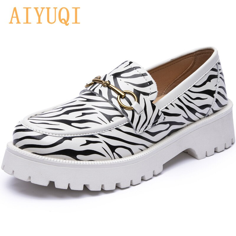 AIYUQI Women Loafer Shoes Genuine Leather Spring New British Style Ladies Casual Shoes Zebra Pattern