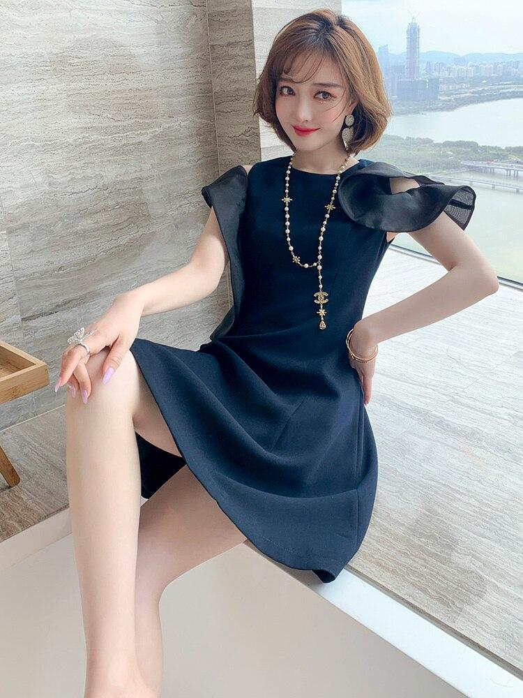 Стильное элегантное платье с круглым вырезом и асимметричными оборками на талии, платье с зонтиком, женское модное летнее платье, новый сти...