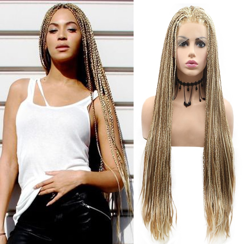 Mixed Blonde Braided Wigs for Women Long Afro Girls Micro Box Braids Lace Front Mix Color Blonde Brown Synthetic Lace Front Wigs