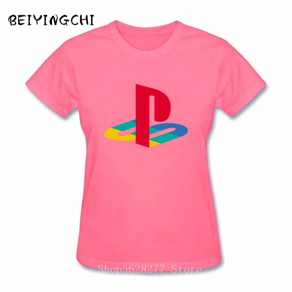 2019 verano Mujer camiseta PS playstation logo camiseta mangas cortas Básicas Camiseta femenina 100% algodón impresionante camiseta impresa