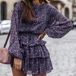 Women Floral Print Dress Elegant Lantern Sleeve Casual Ruffles Dress Office Lady Purple Black Dress Mini Party Vestidos
