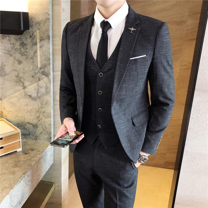 Мужской костюм из трех предметов корейский Молодежный красивый тонкий в