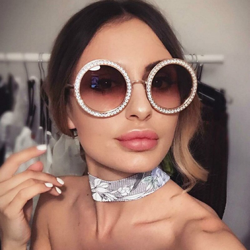 2019 Vintage Sunglasses Women Gafas Luxury Brand Inlaid Brick Sun Glasses Oculos De Sol Mujer Oversize Round Big Sunglasses Women S Sunglasses Aliexpress