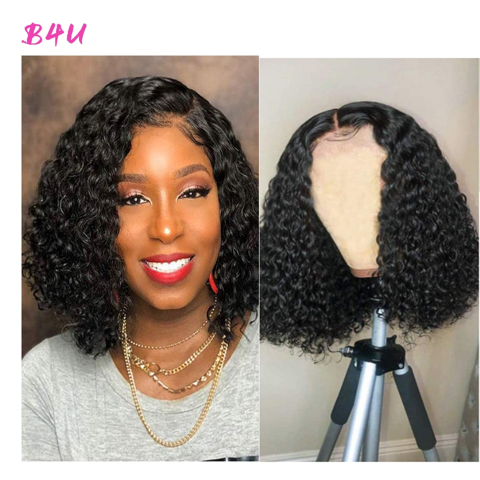 Deep Wave Bob Wig 13X4 Lace Front Human Hair Wigs 4X4 Lace Closure Brazilian Remy Hair Short Kinky Curly Bob Wigs Deep Curly Wig