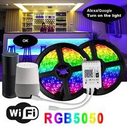 5050 LEVOU RGB WIFI Faixa de Luz À Prova D Água Flexibilidade 12V 5m 10m rgb Fita Fita Diodo CONDUZIDO Wi-fi Contoller com adaptador