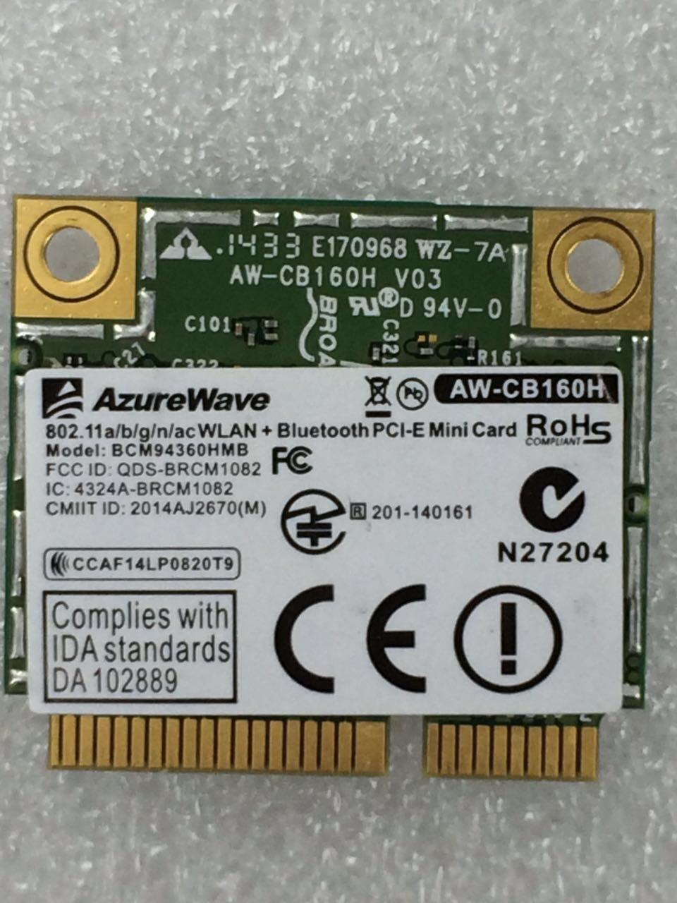 AzureWave AW-CB160H BCM94360HMB BCM94360 medio Mini pci-express Bluetooth4.0 + 802.11AC 867Mbps tarjeta Wifi WLAN inalámbrica