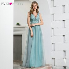 Étincelle bleu robes De bal jamais jolie EP00774DB a-ligne col en v profond sans manches paillettes Tulle Sexy robes De soirée Vestidos De Gala