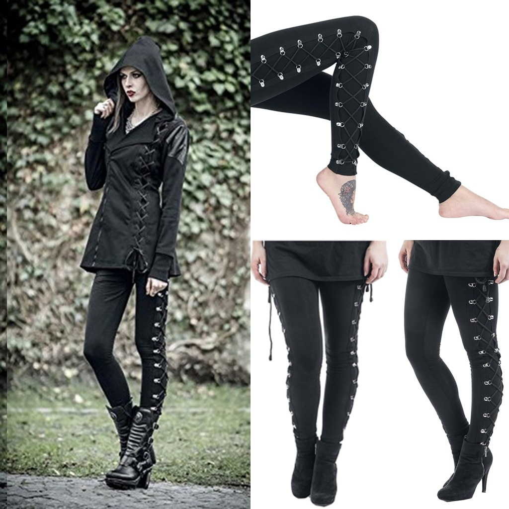 1046 Women Fashion Gothic Lady Side Lace Up Leggings Black Skinny Pans Trousers Solid Color Sweatpants Training Riding Pants