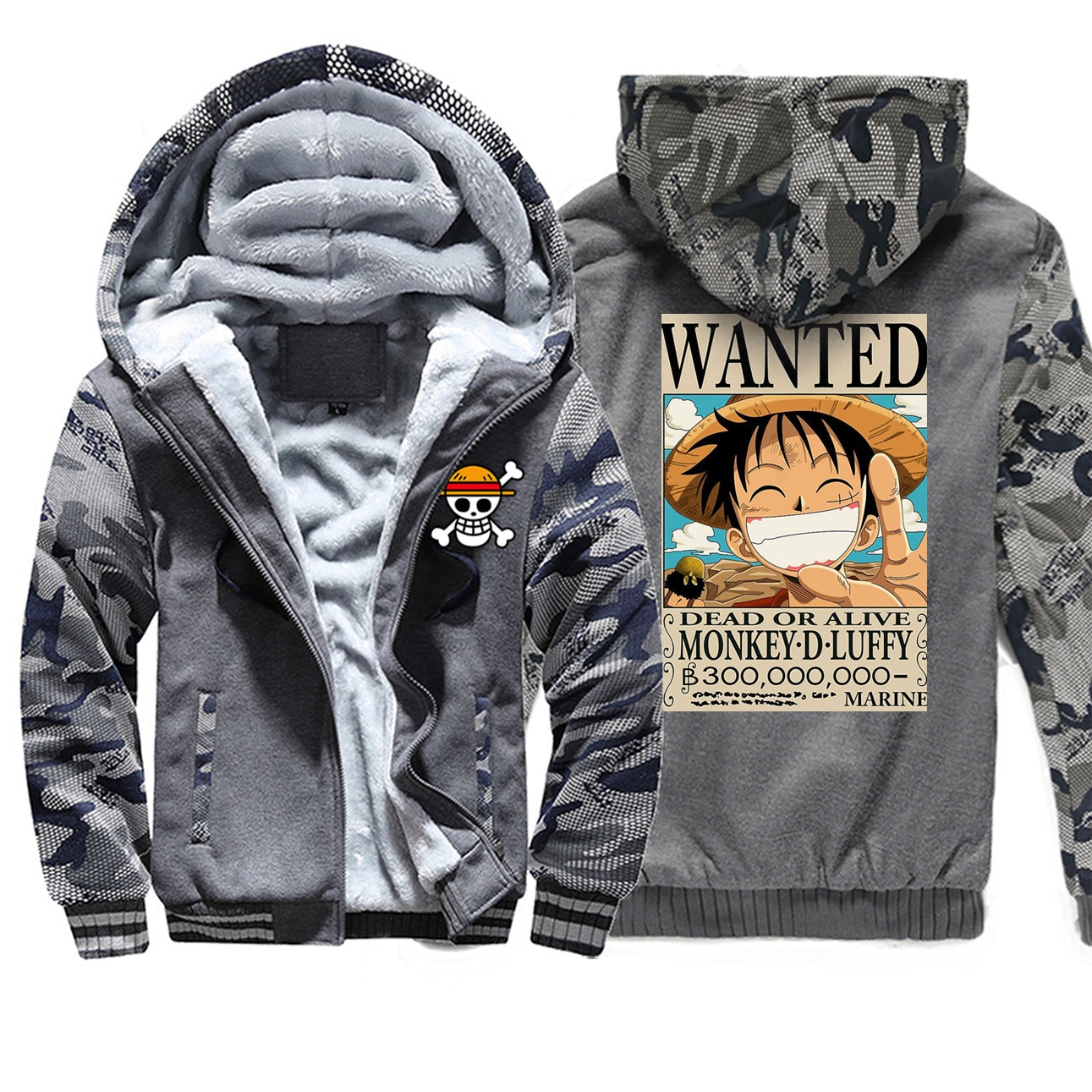 Una pieza para camuflaje sudaderas con capucha cartel sudadera de invierno abrigo caliente de vellón hombre chaqueta de los hombres Harajuku Streetwear