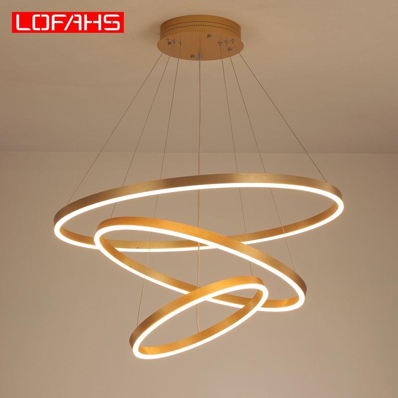Lámpara colgante Led moderna LOFAHS, lámpara colgante circular de aluminio, iluminación remota para cocina, sala, comedor, lustre luminoso