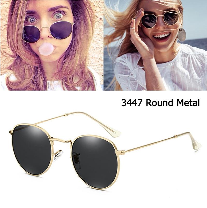 Luxury Brand 3447 Round Metals Style Mirror Sunglasses Men Women Vintage Retro Brand Design Sunglass