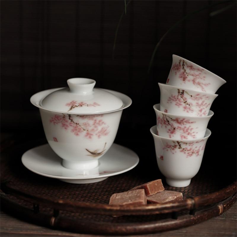 Jingdezhen رسمت باليد أزهار الكرز شاي سيراميك السلطانية الكونغ فو Gaiwan مع طقم شاي الخزف الصحن تورين فنجان الشاي ماستر