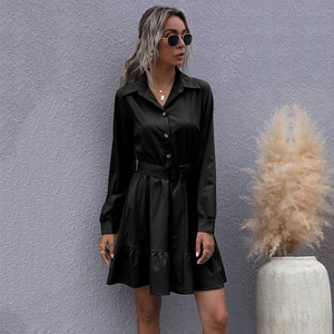 Women Solid Color Long Sleeve Shirt Sexy Mini Dress Summer Fashion Ruffled Turn-down Collar Plus Size Office Ladies Dresses