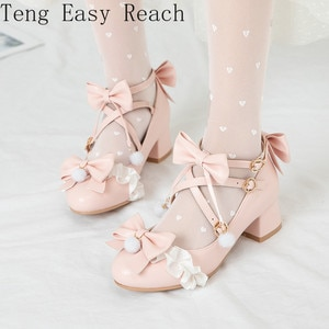 Big Size 34-43 Student Campus Date Lolita Bow Lace Pumps Women Buckle Strap Pompom Party Sweet Shoes 2021 Summer Fashion