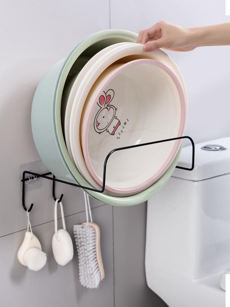 لا اللكم مغسلة رف المرحاض الجدار الشنق مغسلة رف المطبخ جدار خطاف لاصقة قوية حوض تخزين الرف