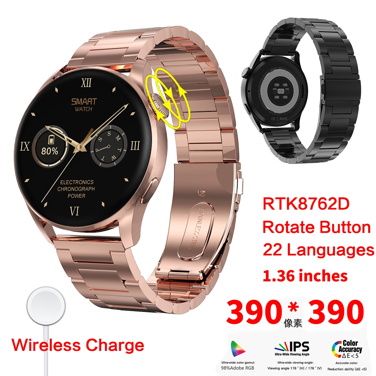 بلوتوث دعوة لاسلكية تهمة ساعة ذكية الكشف هيرتريت 390*390 بكسل شاشة IP68 مقاوم للماء DT3 Smartwatch