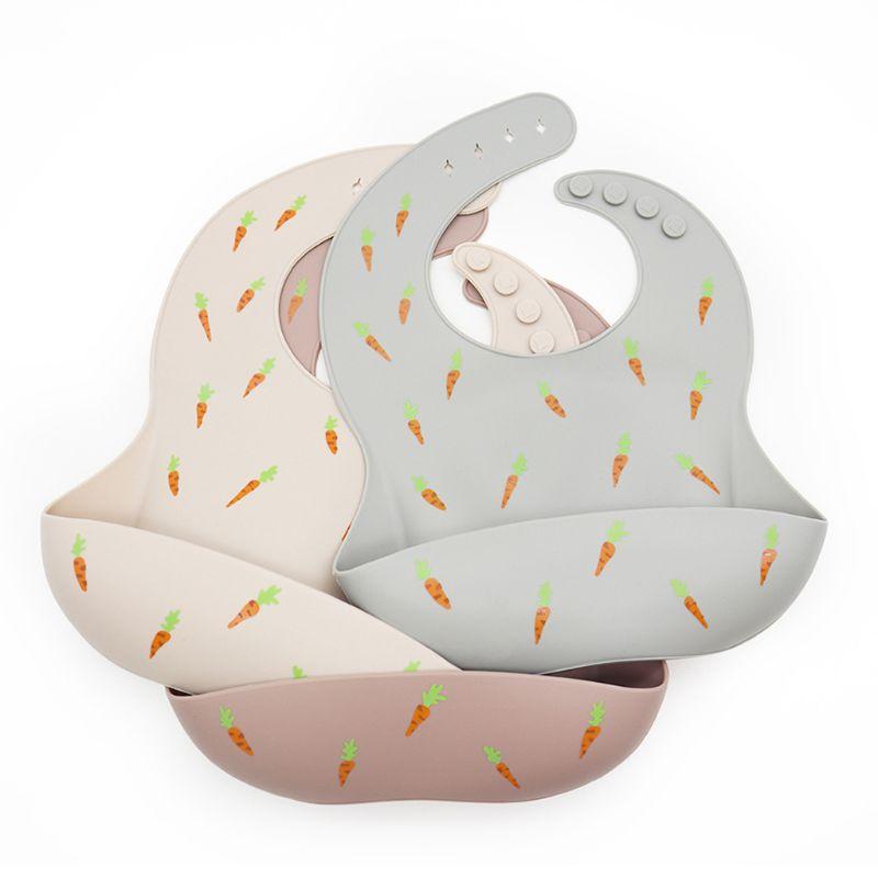Baberos ajustables de silicona para niños y recién nacidos, vajilla de alimentación de bebé, Baberos impermeables para bebés, alimentaciones de desayuno para niños 1 pz