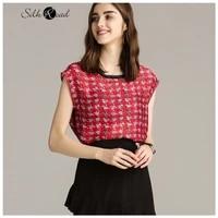 silviye round neck lace panel plaid printed silk sleeveless t shirt womens silk vest top summer blusas mujer de moda 2020