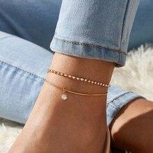 LETAPI Bohemian Beads Anklets for Women Boho Cubic Zirconia Anklet 2020 Ankle Bracelet on Leg Anklet