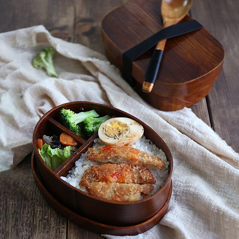 ONEUP 3 pçs/set Estilo Japonês Caixa De Bento Lunch Box Para Crianças Material de Madeira Talheres Saudável Alimentos Recipientes Com Compartimentos