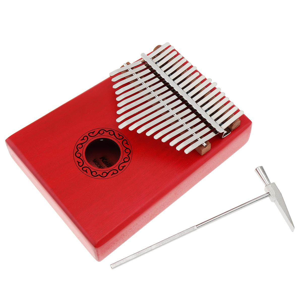 17 Key Red Kalimba Single Board Mahogany Thumb Piano Mbira Mini Keyboard Instrument with Complete Accessories Thumb Piano enlarge