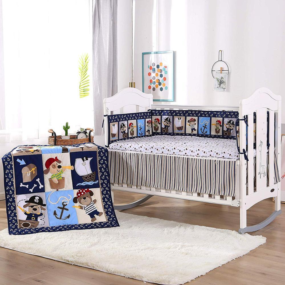 Juego de cama para bebé bordado de 7 uds, juego de cama berço para bebé, cuna para recién nacido para niña, Protector de cama de dibujos animados (4 parachoques + edredón + funda de cama + falda de cama)