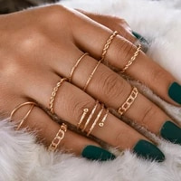 8pcsset creative gold rings vintage new trendy womens stainless steel rings personalized gift to girlfriend euro american