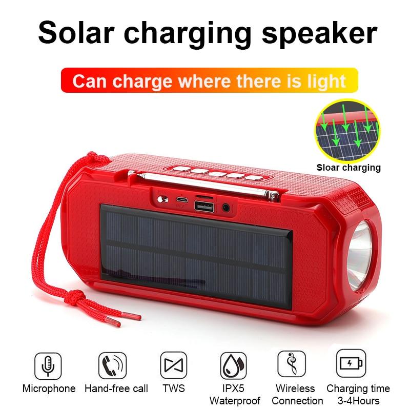 Energía Solar de carga de auriculares Bluetooth estéreo inalámbrico Subwoofer portátil al...