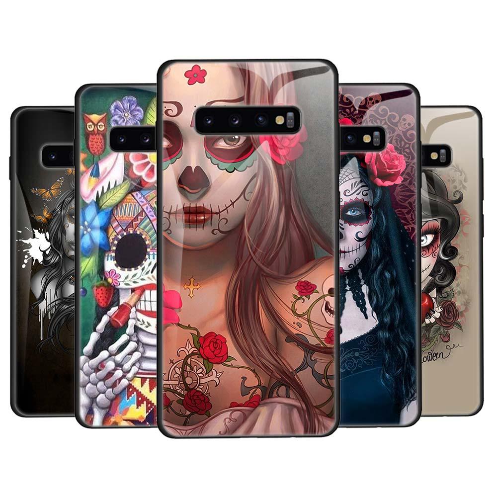 Чехол из закаленного стекла для Samsung Galaxy S8 S9 S10 S11 Plus S10e S11e Note 8 9 10 Plus 5G Cover skull and catrinas