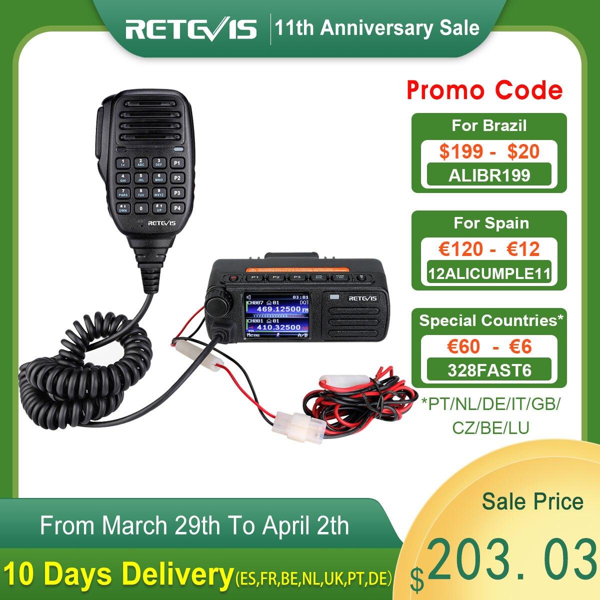 AliExpress - Hot Sale DMR Digital Mobile Radio Retevis RT73 Mini Digital Car Radio Station GPS UV Dual Band 20W with Hand Microphone +Cable