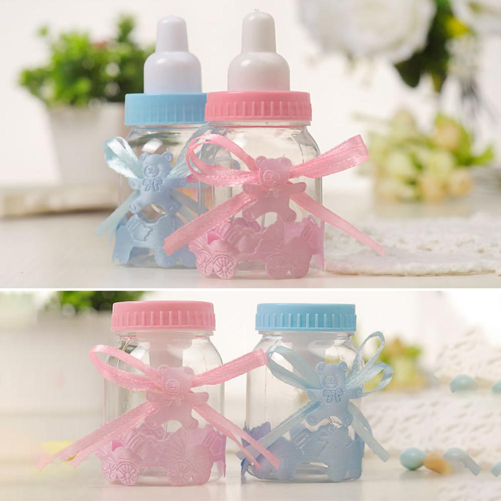 Caixa de presente de empacotamento plástica azul dos doces da festa de aniversário do baptismo do bebê de 24 pces