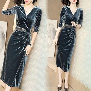 Fashion dress women's autumn and winter gold velvet dress long banquet bar mitzvah little elegant improved cheongsam skirt