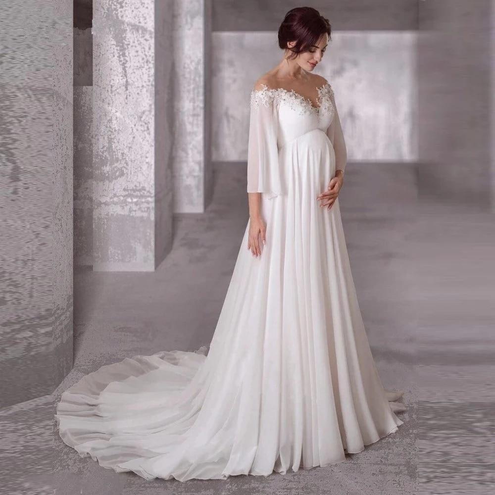 Фото - Женское ТРАПЕЦИЕВИДНОЕ шифоновое платье с рукавами 3/4, свадебное платье Boho Dubai Arabic, свадебное платье, свадебное платье платье 3 pommes 3 pommes po013egzrt57