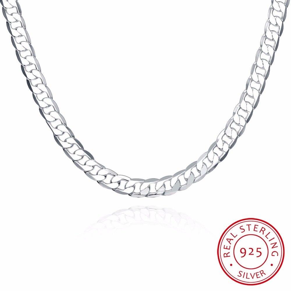 Lekani Men's Fine Jewelry Lobster Buckle 20'' Width 8mm Flat Necklace 925 Sterling Silver Chain Colar De Prata Free Shipping