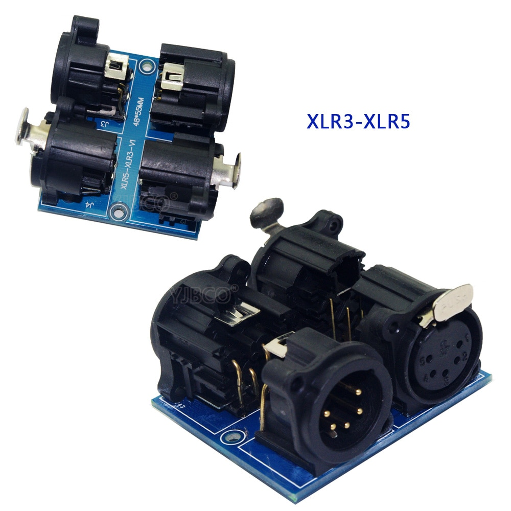 Wholesale terminal adapter 5 core XLR to 3 core XLR, RJ45-3P, ADDR2,XLR5-3P USE for CH LED dmx512 dimmer led decoder