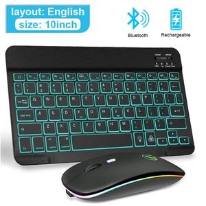 Цветная (RGB) Bluetooth клавиатура Беспроводной клавиатура и мышь мини-клавиатура RGB подсветкой Русский колпачки Перезаряжаемые для ipad телефон планшет