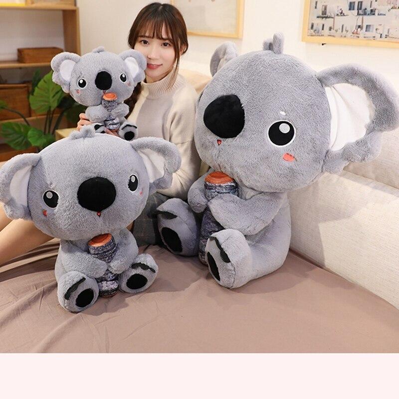 Simulación gigante Koala australiano con madera de peluche, almohada suave, Animal relleno, Koala, muñeco de oso, bebé, regalo de cumpleaños niños niñas