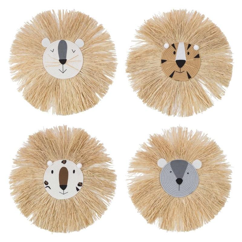 AliExpress - Cartoon Lion Hanging Decorations Handmade Kids Room Wall Home Accessory Cotton Thread Weaving Animal Head Ornament